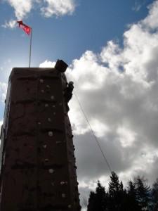Rock climbing on climbing wall Mount Rocky