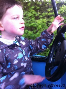 driving a tractor at Alton Towers
