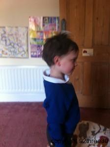 hair brushing before school photo day