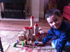 boy with a wooden castle