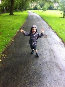 Walking home from school in the rain