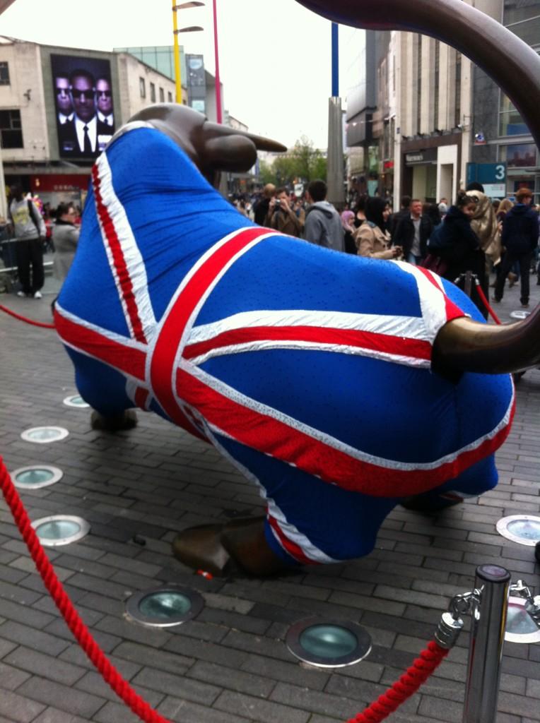 Birmingham Bullring Bull in Union Jack