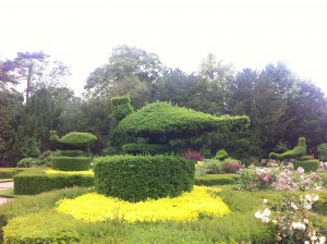 Topiary in the Peacock Garden at Warwick Castle