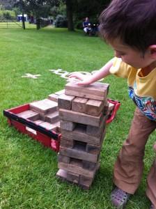 Playing jenga outside