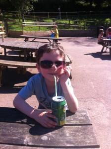 Having a drink in the sun