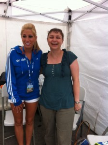 With Stacey Solomon