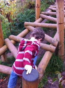 Climbing up the walkway