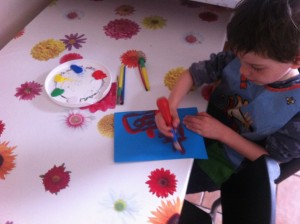 Making Granny's birthday card