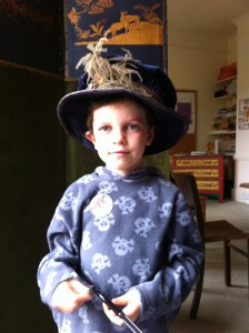 Child wearing old fashioned hat at Greyfriars Worcester