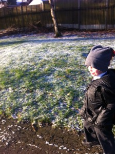 a cold and frosty walk to school