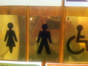 public toilets door sign