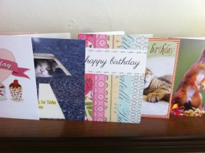 birthday cards on mantlepiece
