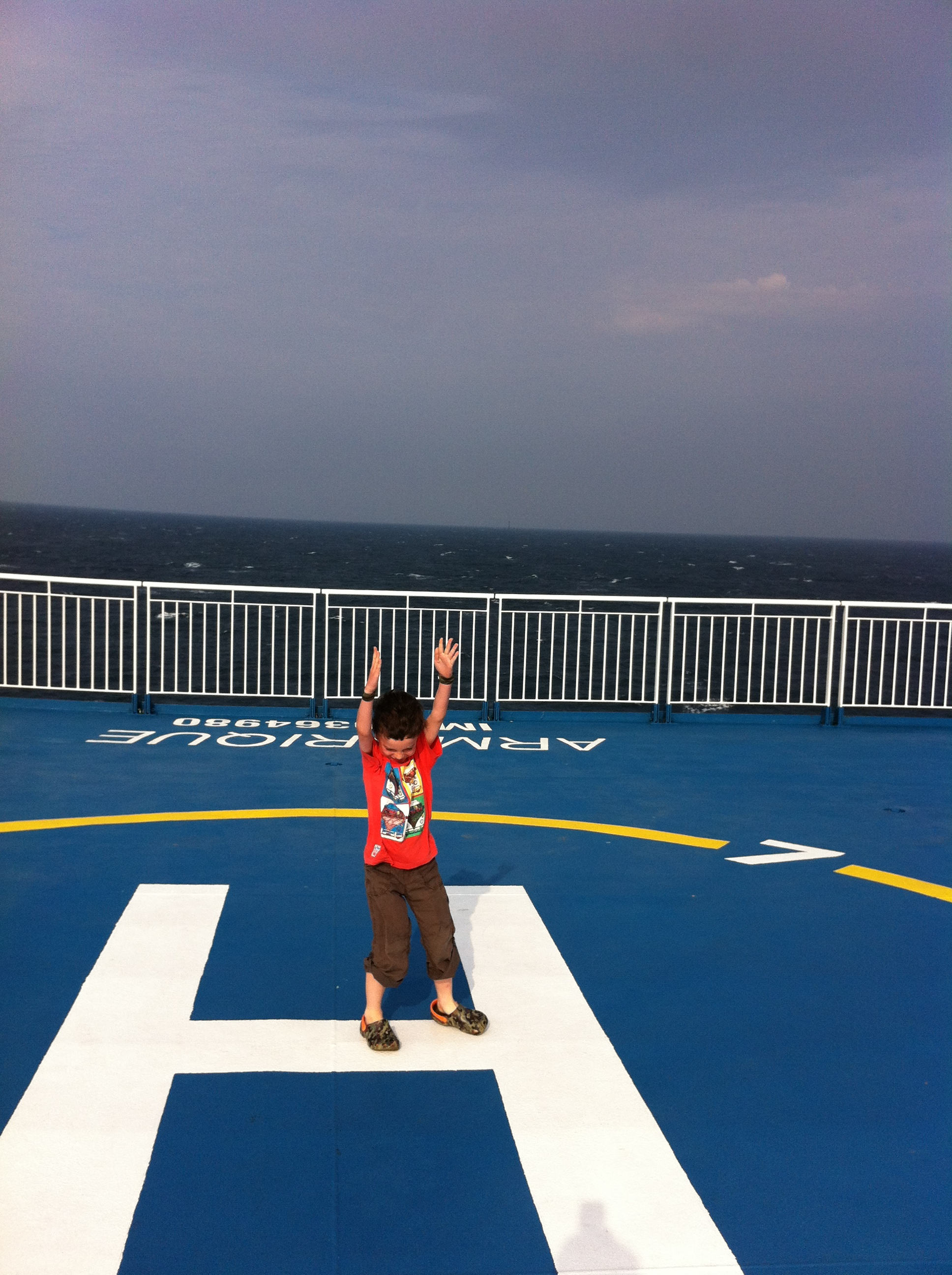 on the helipad on the ferry