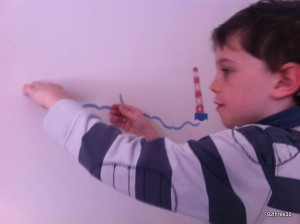 putting up TinyMe wall stickers