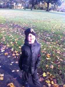 an autumn walk to school