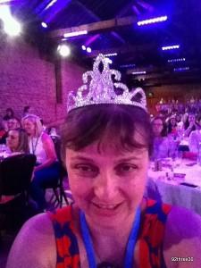 wearing a tiara at britmums