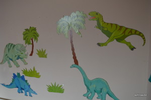adding dinosaur wallpops