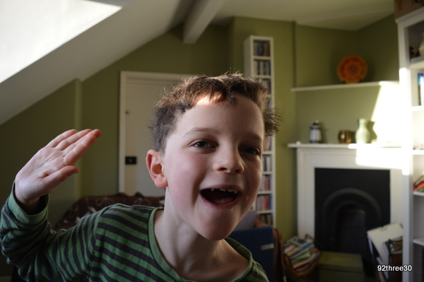 saluting child