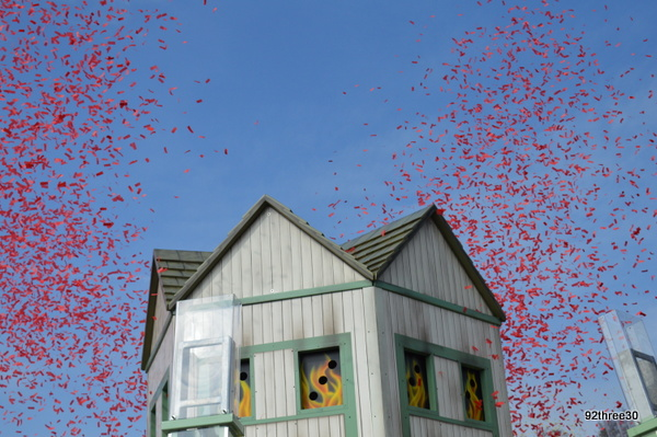 coloured confetti as ride opens