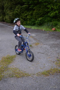 Practising the bumps on a bike