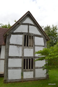 black and white timber framed building