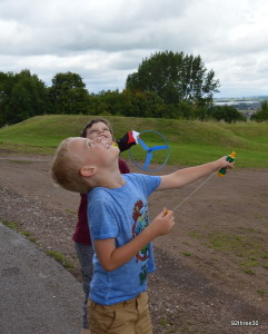 playing in grounds of Stafford Castle