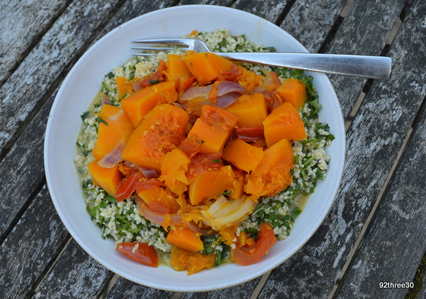 fragrant squash and tomatoes with green herb bulgar wheat