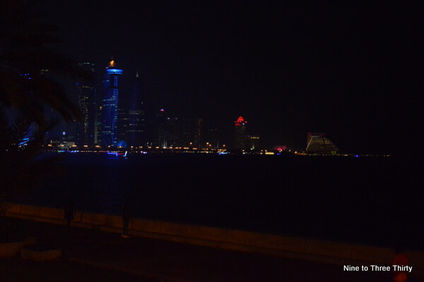 doha skyscrapers night