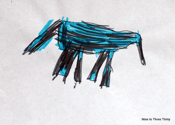child's drawing of dream horse