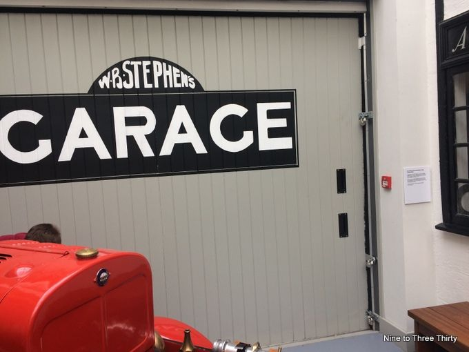 garage and fire engine