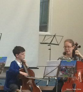 performing on cello