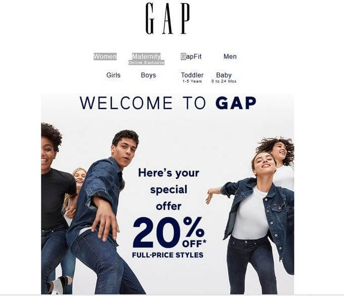 gap newsletter code