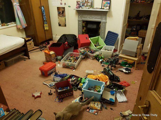 H's messy room