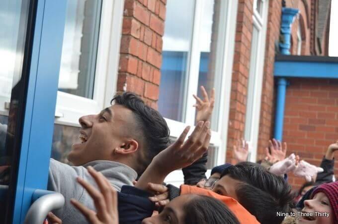 Karim Zeroual mobbed by school kids