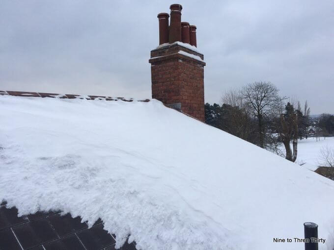 rooftop snow and chimney