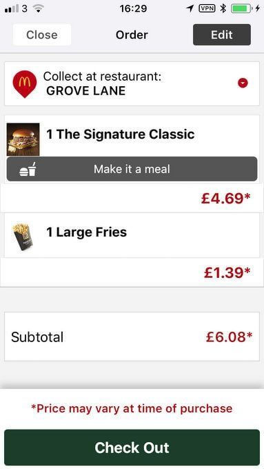ordering a meal on the mcdonalds app