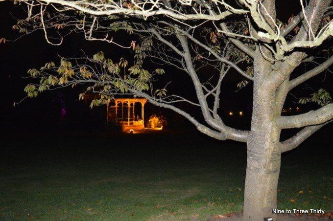 bandstand in birmingham botanical gardens at night
