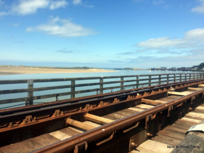 view from Barmouth railway bridge out to sea