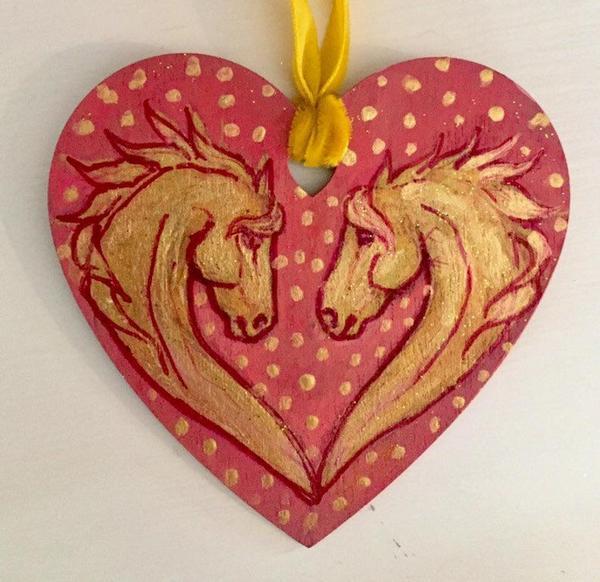 Ceramic horse heart shaped charm
