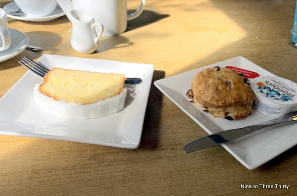 lemon drizzle cake and a scone